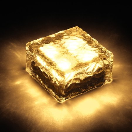 Waterproof Solar 4LED Path Ice Cube Rocks LED Frosted Glass Brick Paver Garden Light Warm White