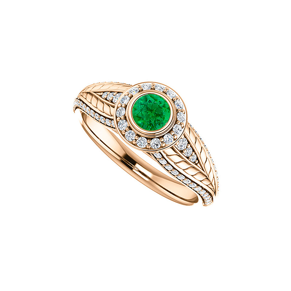 Emerald CZ Leaf Pattern Halo Ring 14K Rose Gold Vermeil - image 2 de 2