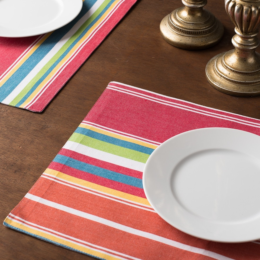 Linen Tablecloth Striped Placemt Set (Set of 4), Sunset by Linen Tablecloth