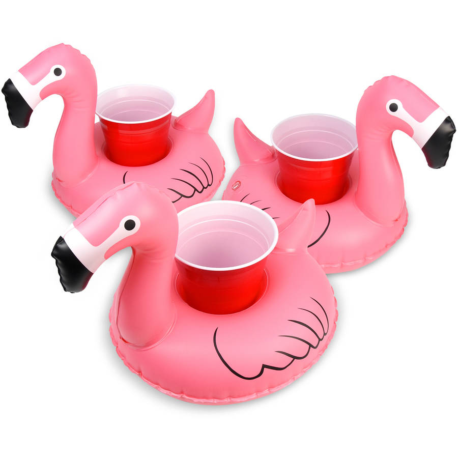 GoFloats Inflatable Floatmingo Drink Holder, 3-Pack, Float your drinks in style