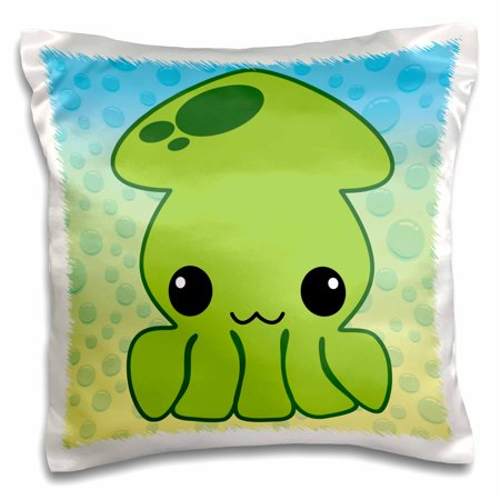 3dRose Cute Kawaii Green Squid Character On Gradient Bubbles Background - Pillow Case, 16 by 16-inch (Kawaii Halloween Background)