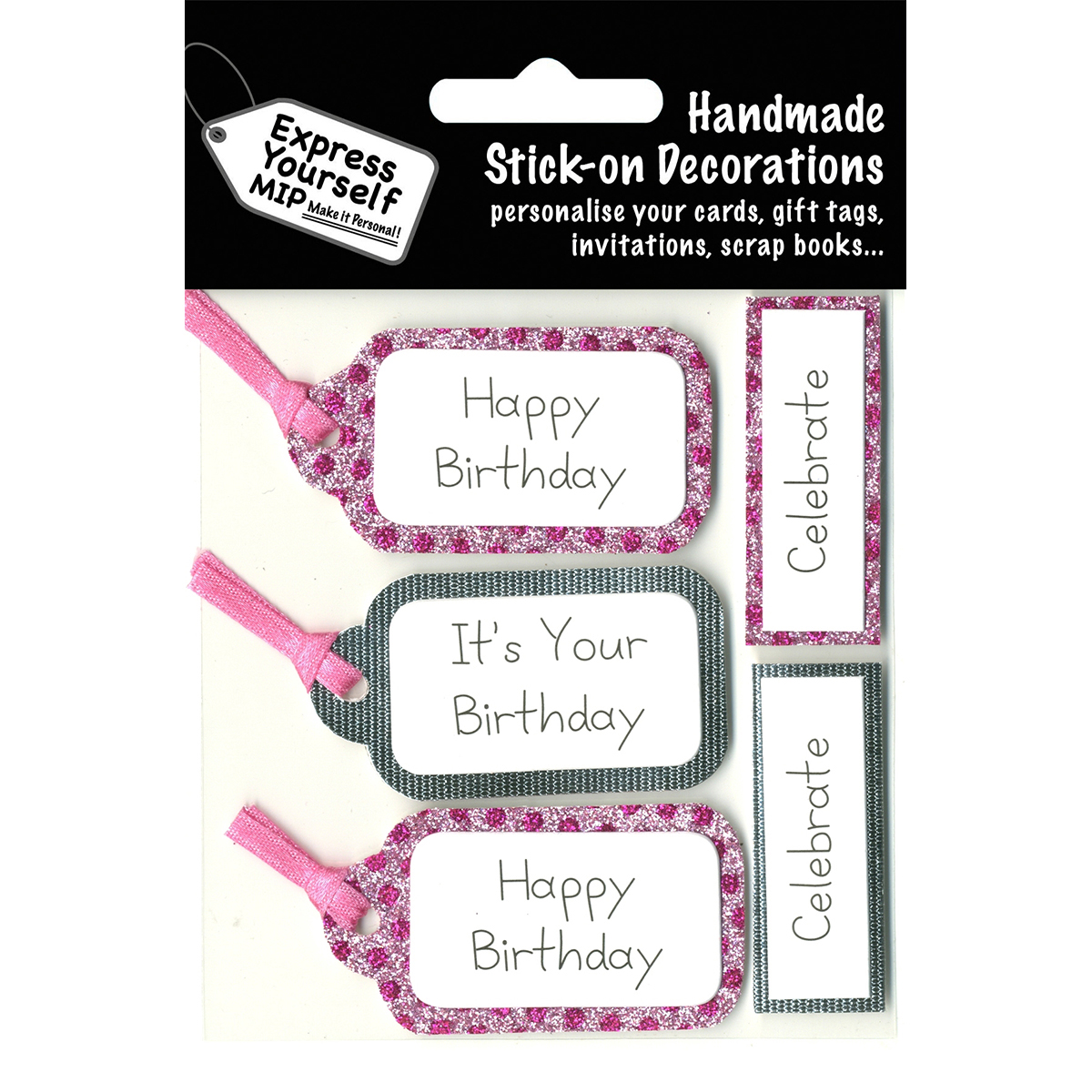 Express Yourself MIP 3D Stickers-Pink & Silver Banners