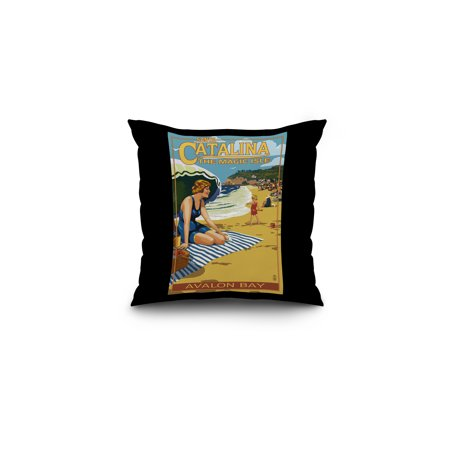Catalina Island, California - Avalon Bay Scene - Lantern Press Poster (16x16 Spun Polyester Pillow, Black Border)
