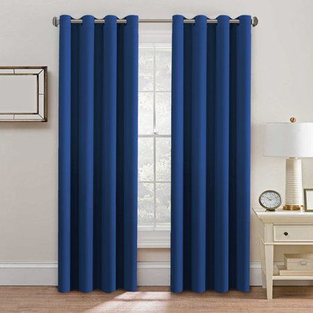 H Versailtex Thermal Insulated Blackout Window Treatment Curtains D Formaldehyde Free Grommet Top 52 By 96 Inch Royal Blue Set Of 2 Panels