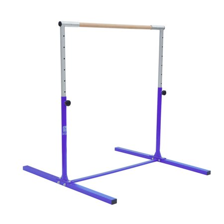 Adjustable (3'-5') Horizontal Bar Expandable Gymnastics Junior Training Bar Jr Kip Bar Pro for Kids Toddler Home Use Indoor Outdoor, Beech Wood, 4.4'L x 4.6'W x (3' - 5')H Junior 3 Wood