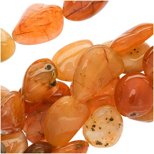 Orange Fire Agate Smooth Huge Nugget Beads 16-26mm 15 Inch Strand