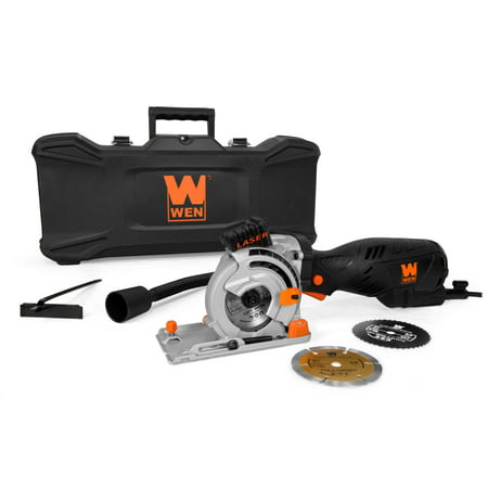 WEN 5-Amp 3-1/2-Inch Plunge Cut Compact Circular Saw with Laser, Carrying Case, and Three