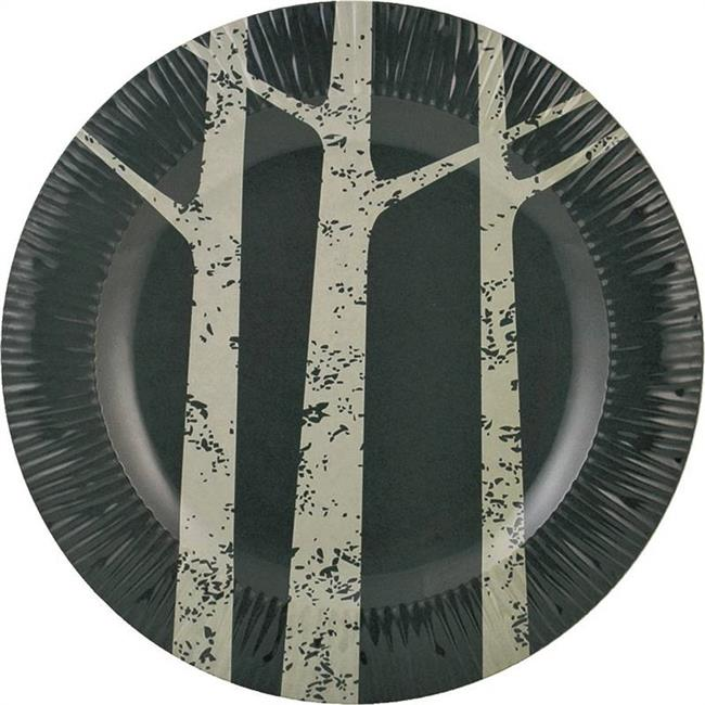 Knack3 1100031 8.5 in. Plate Salad Plates Birch Tree Textured, Gray