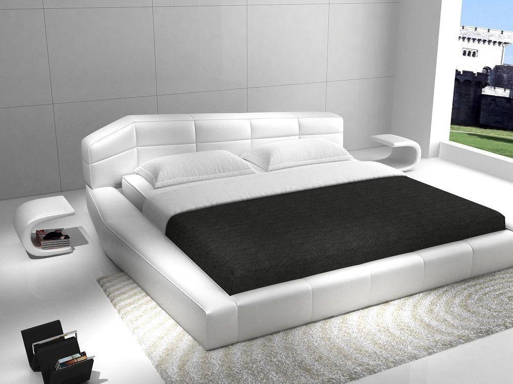Contemporary White Eco Leather King Size Platform Bed Set 3pcs J M