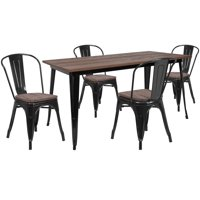 "Flash Furniture 30.25"" x 60"" Black Metal Table Set with Wood Top and 4 Stack Chairs"