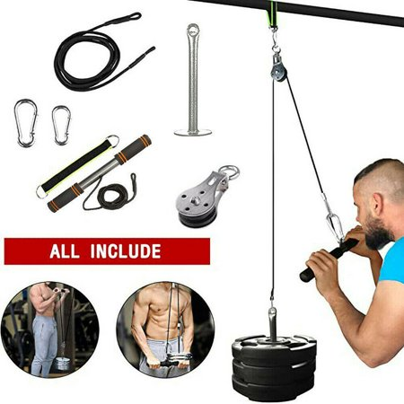 Fitness LAT and Lift Pulley System, Cable Machine with Upgraded Loading Pin for Triceps Pull Down, Biceps Curl, Back, Forearm, Shoulder-Home Gym Equipment (Patent) Beginner