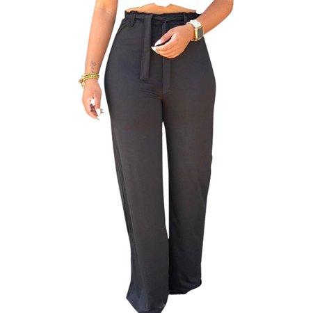 Women Summer Casual Palazzo Long Trousers Elastic Wide Leg Loose Pants