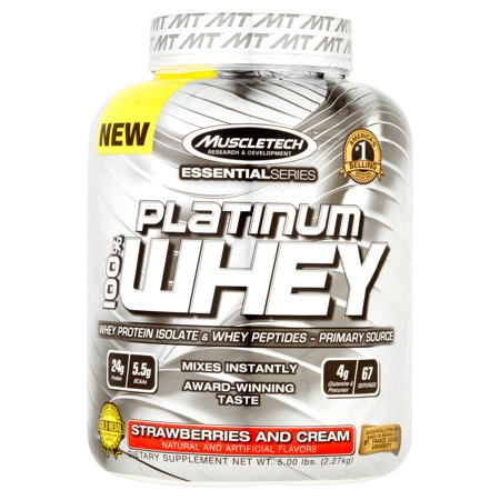 Muscletech Essential Series Strawberries and Cream Platinum Whey Protein 100% 5 lbs