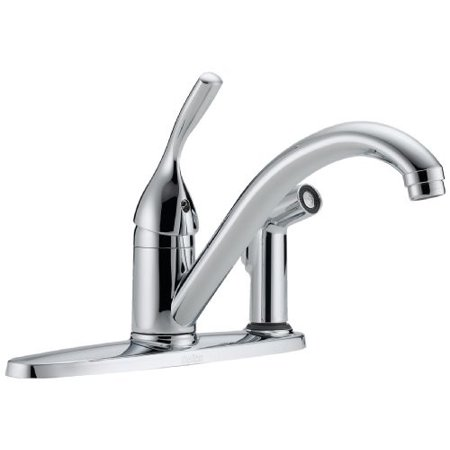 - Delta 300-DST Classic Single Handle Kitchen Faucet with Integral Spray Chrome