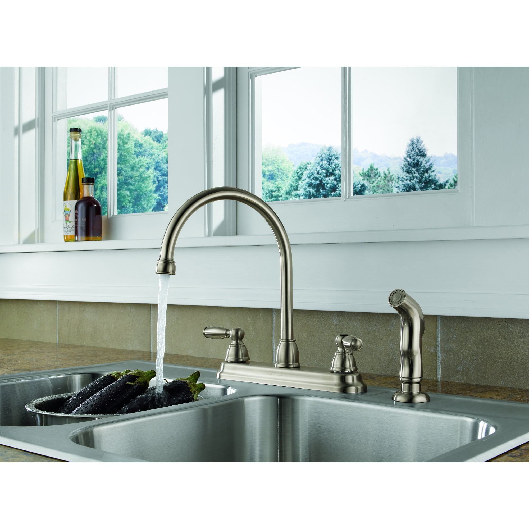 Peerless 2-Handle Lavatory Faucet with Side spray, Stainless Steel ...