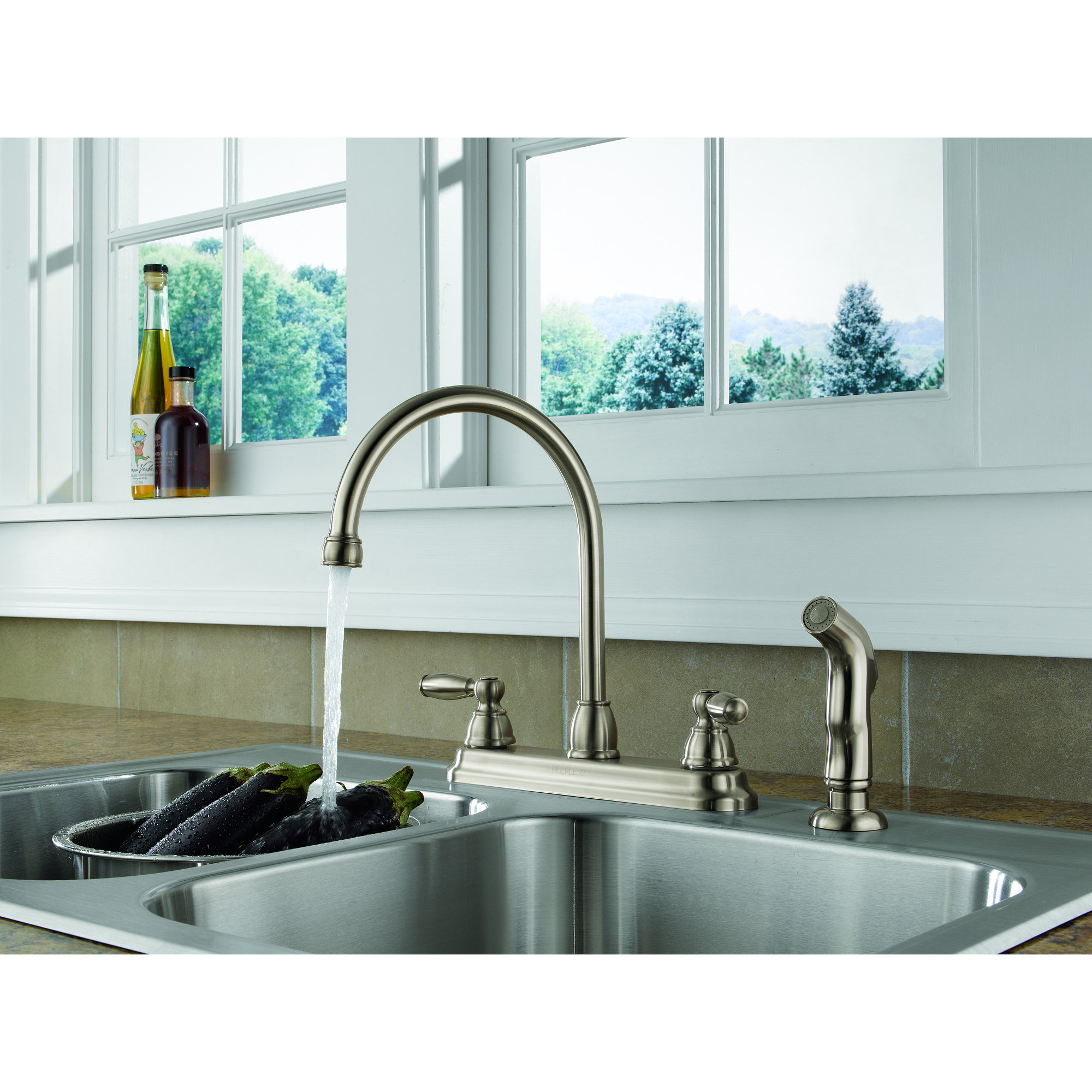 peerless 2-handle lavatory faucet with side spray, stainless steel