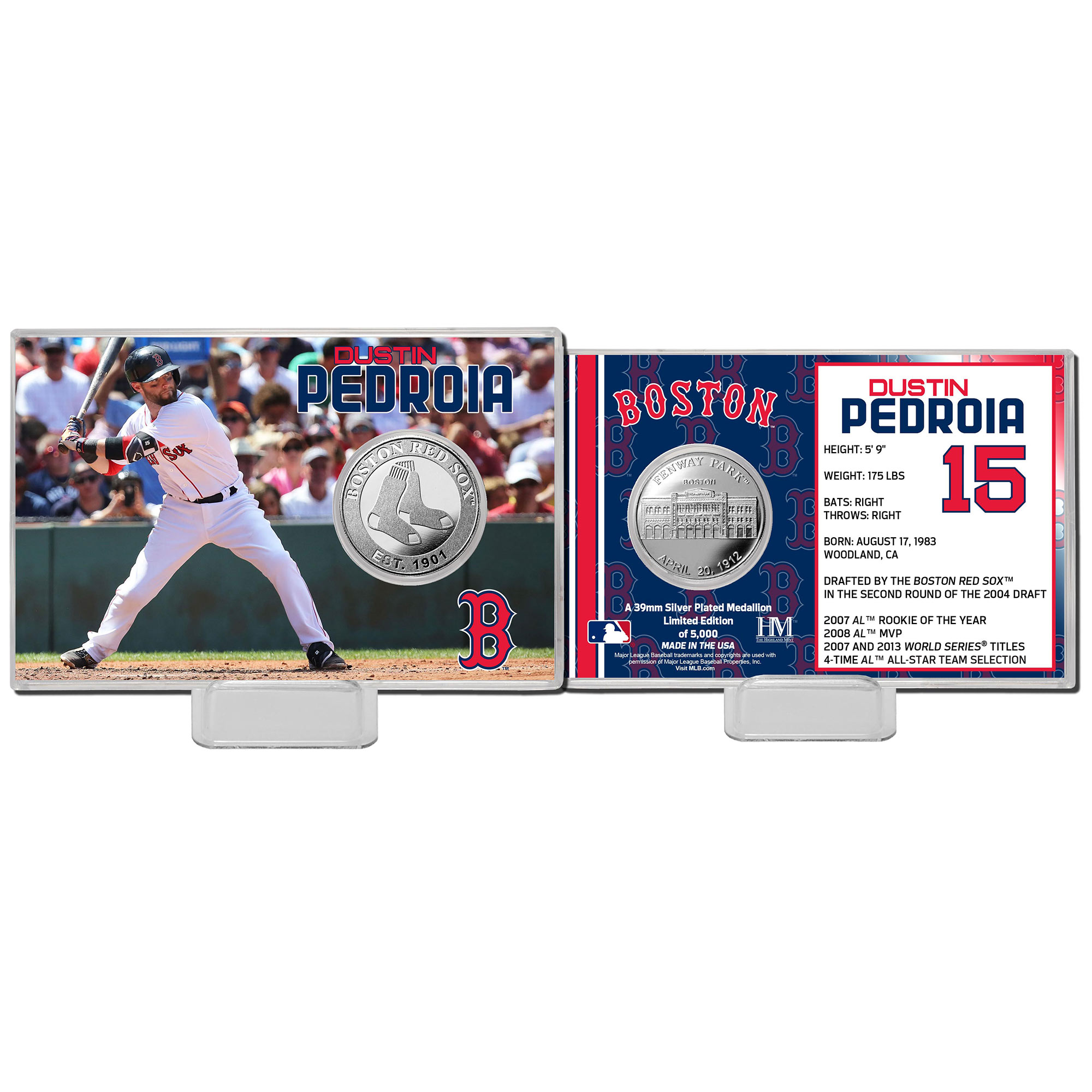 Highland Mint Dustin Pedroia Boston Red Sox Mint Player Silver Collector Coin Card - No Size