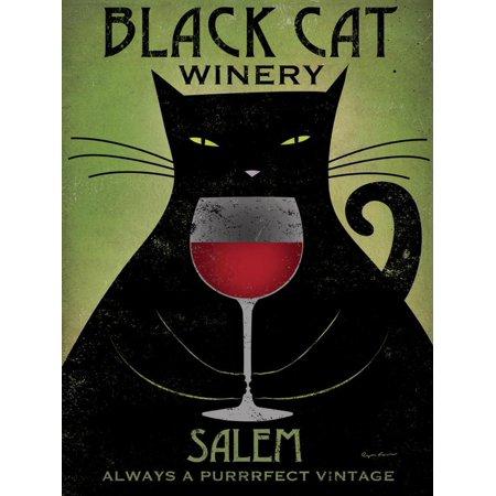 Black Cat Winery Salem Vintage Style Red Wine Advertisement Print Wall Art By Ryan