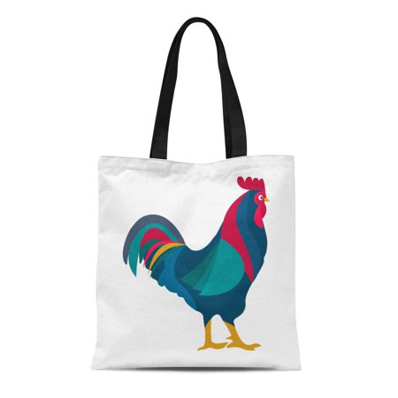 ASHLEIGH Canvas Tote Bag Rooster Red Crest Drawing Chicken Brown Leghorn Bird Reusable Shoulder Grocery Shopping Bags
