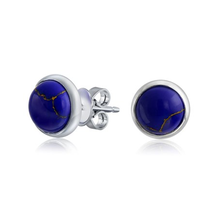 723e09276 Bling Jewelry - Simple Gemstone Bezel Set Round Dome Button Stud Earrings  For Women 14K Gold Plated 925 Sterling Silver More Colors - Walmart.com