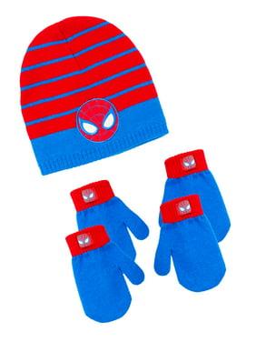 Infant Toddler Boy's Spiderman Hat and 2 Pair Mitten Set
