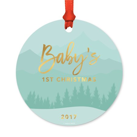 Metal Christmas Ornament, Baby's 1st Christmas 2017, Winter Wonderland Forest, Includes Ribbon and Gift Bag