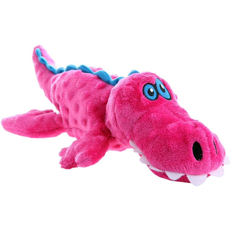 goDog Gators with Chew Guard Technology Plush Squeaker Dog Toy, Large, Pink by Worldwise, Inc