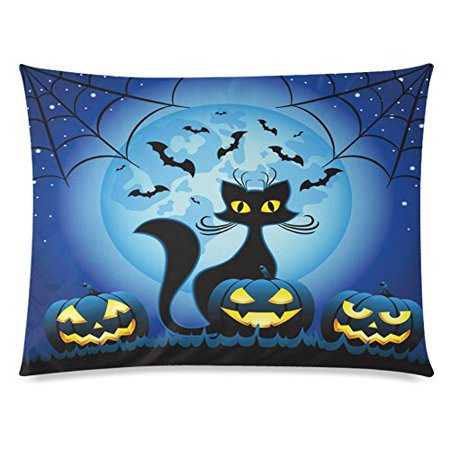 ZKGK Happy Halloween Funny Cat Pumpkin Face Home Decor Pillowcase 20 x 30 Inches,Moon Star Bat Spiderweb Blue Pillow Cover Case Shams Decorative - Vintage Halloween Cat Faces