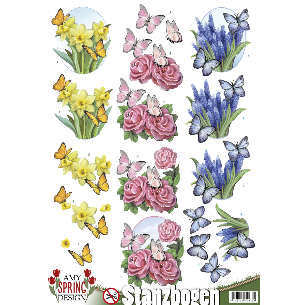 Find It Amy Design Spring Punchout Sheet-Flowers & Butterflies