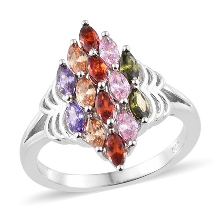 Marquee Peridot Cubic Zirconia Multi Gemstone Anniversary Ring for Women Cttw 2.7 Jewelry