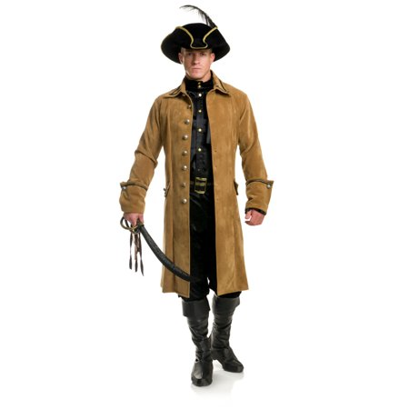 Mens Premium Tan Buccaneer Pirate Jacket With Functional Pockets (Pirate Men)