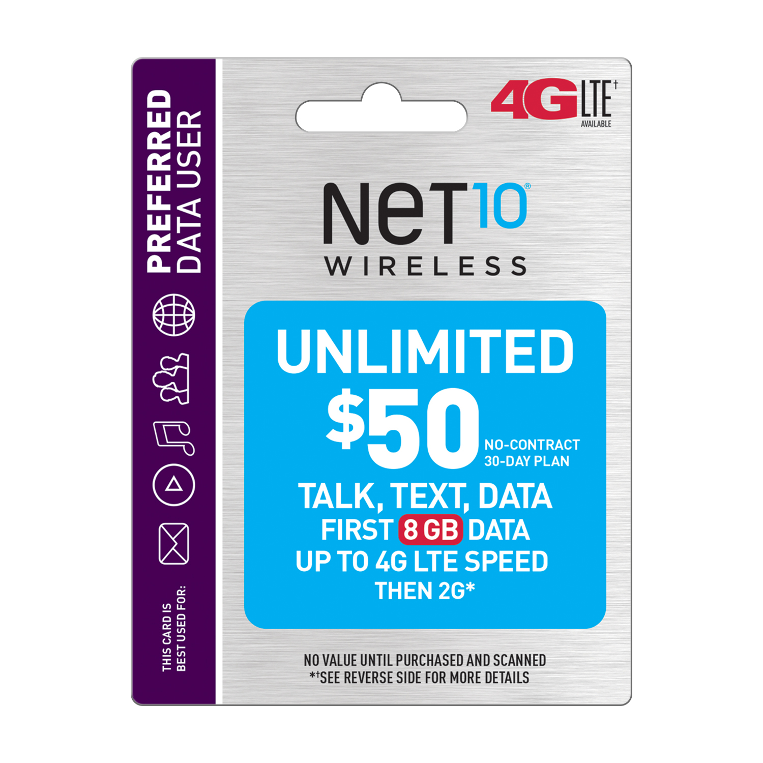 Net10 $50 Unlimited 30 Day Plan (8GB of data at high speed, then 2G*) (Email Delivery)