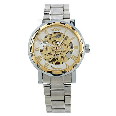 Luxury Mens Automatic Mechanical Skeleton Wrist Watch Brown Leather Strap Sport - Skeleton Wrist