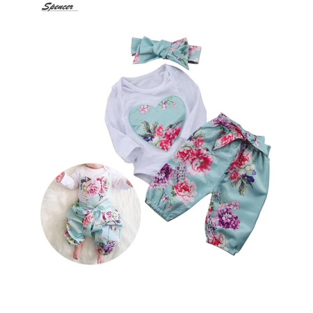 4c02a9f8267c Spencer 3Pcs Infant Baby Girl Floral Heart Print Jumpsuit Romper Tops Tutu  Pants with Headband Outfit Clothes Set