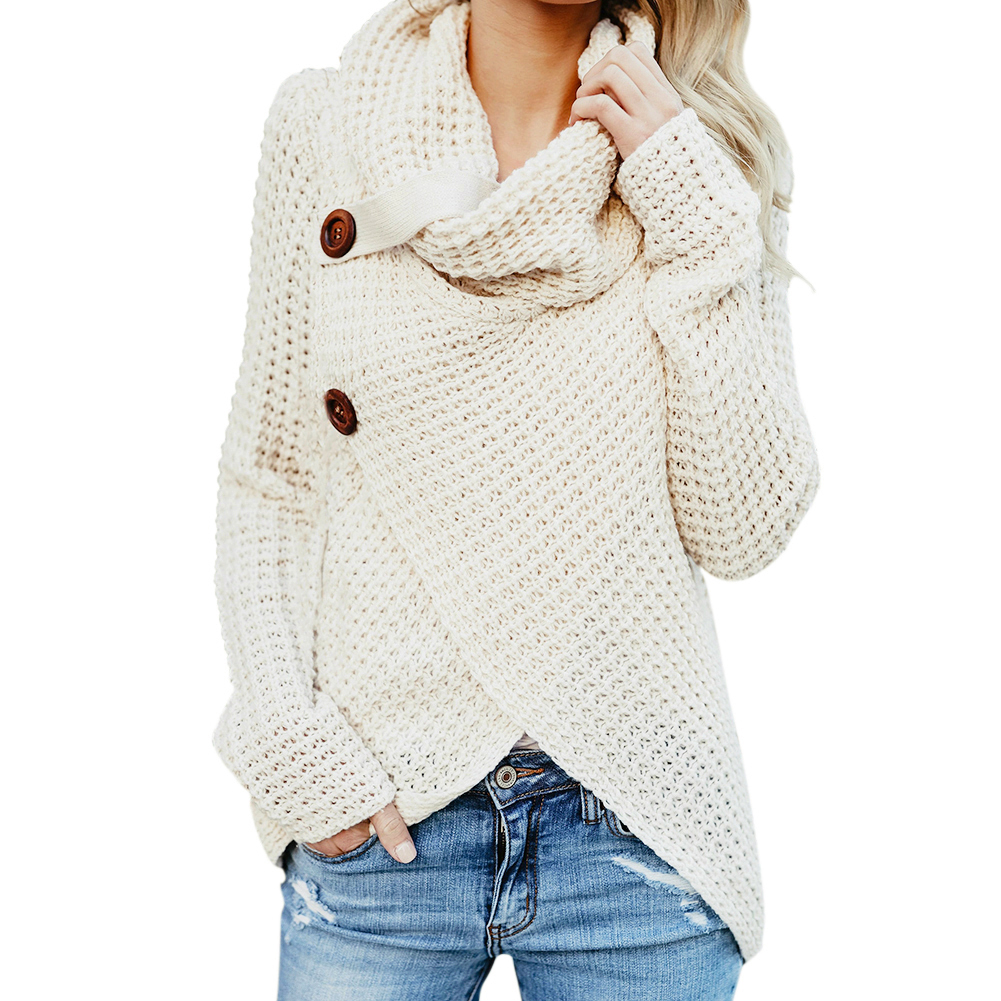 Womens Sweaters Turtle Cowl Neck Chunky Cable Knit Button Wrap Pullover  Sweater Coats, Apricot