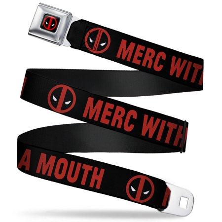 Marvel Universe Deadpool Logo Full Color Black Red White Deadpool Logo Merc Seatbelt Belt Standard