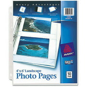 Avery Photo Pages for Four 4 x 6 Horizontal Photos 13406, 3-Hole Punched, 10/Pack