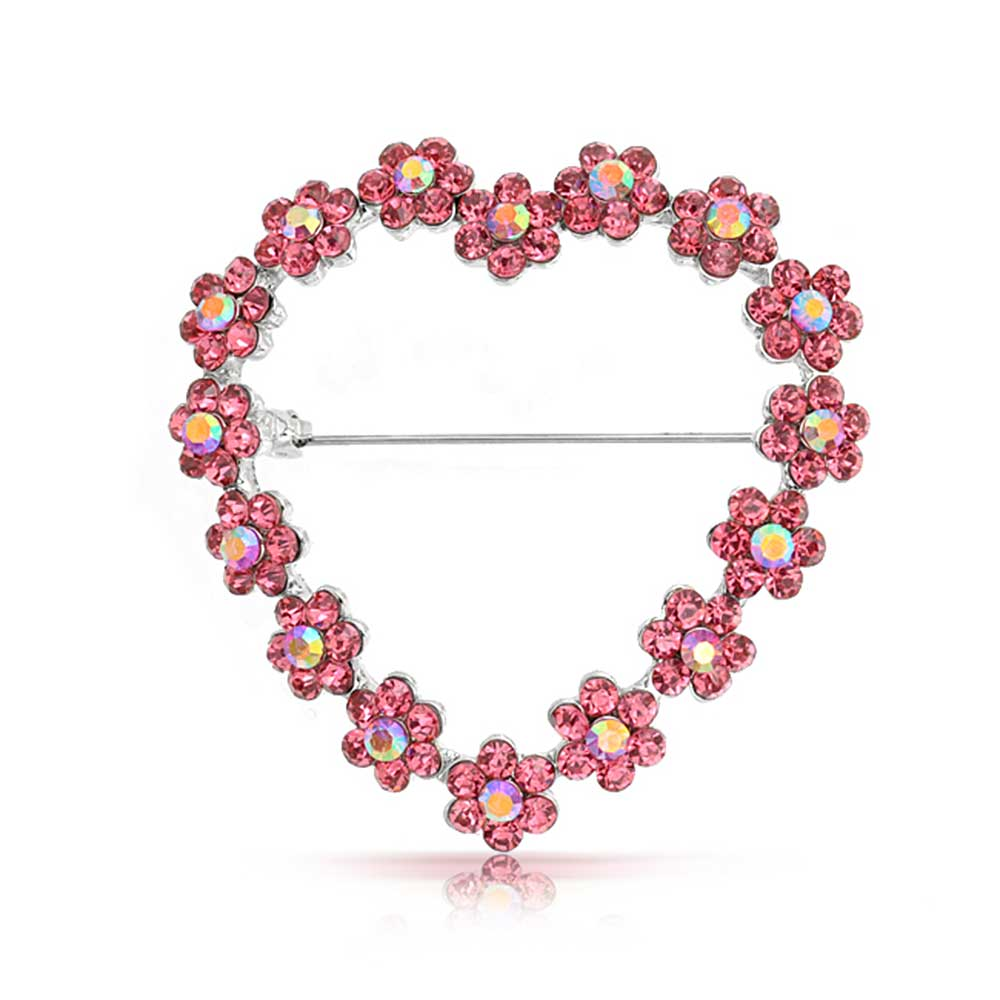 Bling Jewelry Simulated Pink Topaz Crystal Flower Heart Pin Rhodium Plated by Bling Jewelry