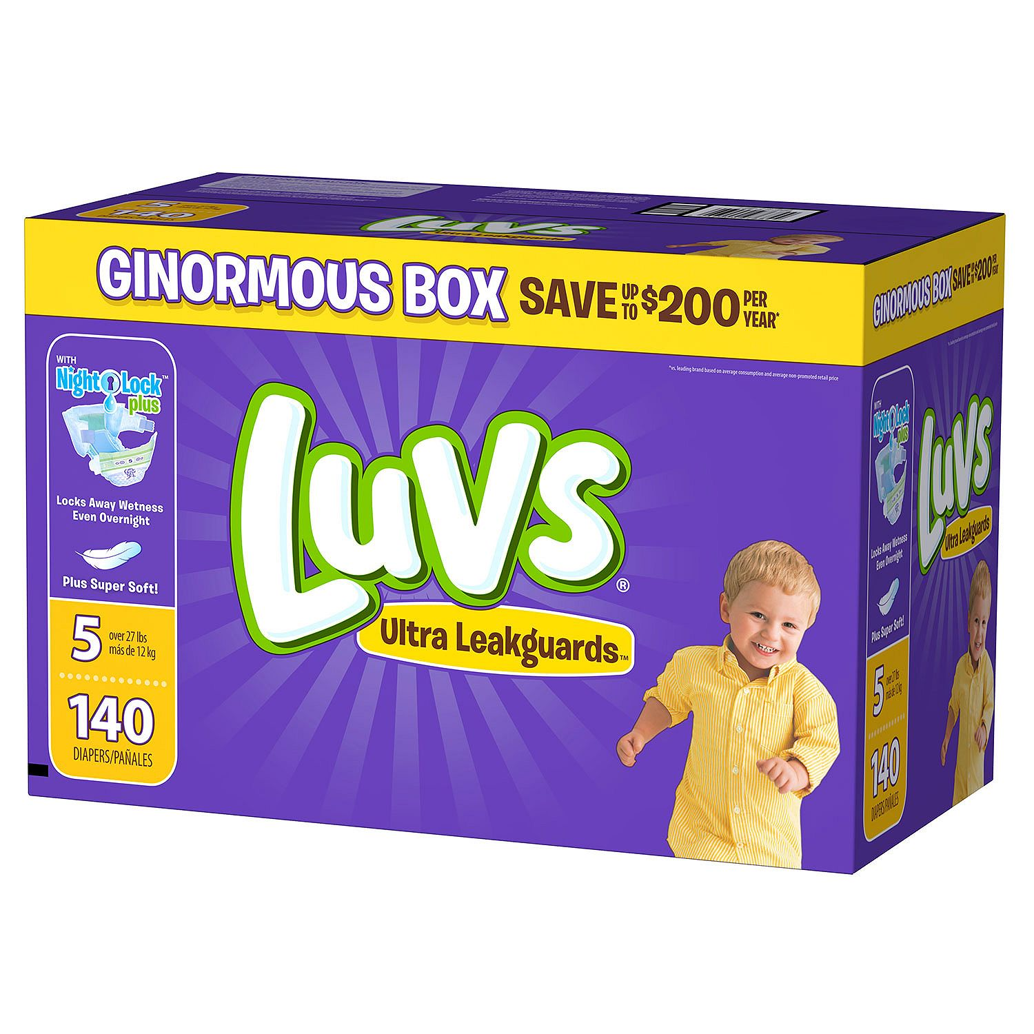 A Product of Luvs Ultra Leakguards Diapers - Diaper Size 5 - 140 Ct. ( Weight 27+ Lb.) [Skin Soft, Comfortable and Good Sleep Diapers](Babys Best Choice)