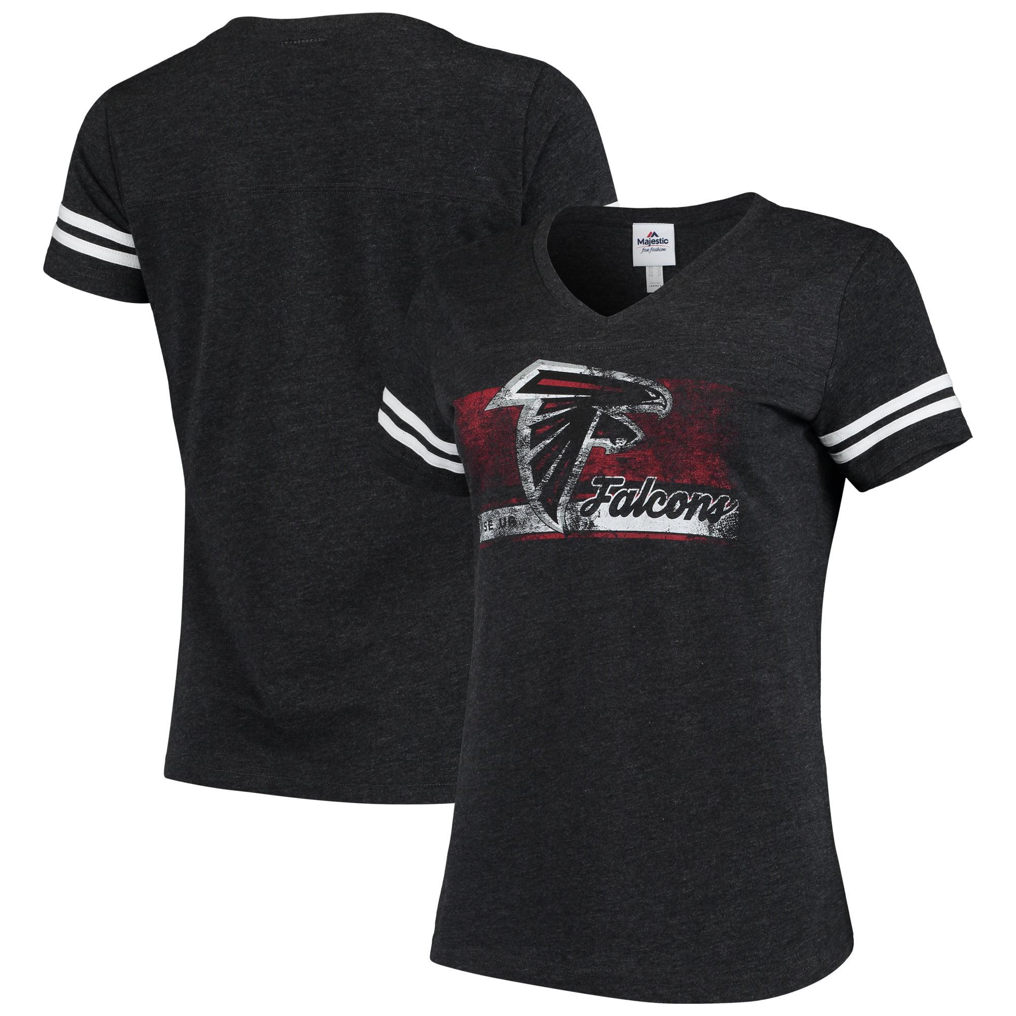 Atlanta Falcons Majestic Women's Legendary Look V-Neck T-Shirt - Heathered Charcoal/White