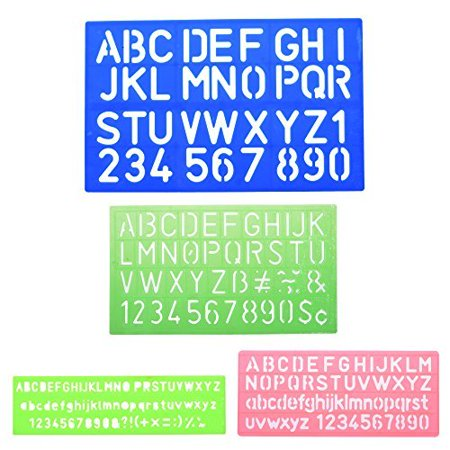 BCP 4pcs Assorted Colors Plastic Letter and Alphabet Stencil Sets Drawing Drafting Template - image 1 of 1