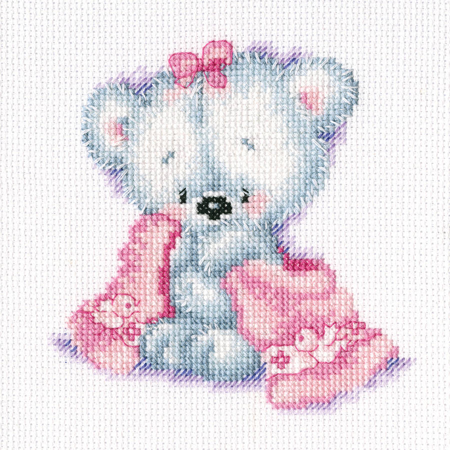"Teddy Bear Cutie Counted Cross Stitch Kit, 6"" x 8"", 14 Count"