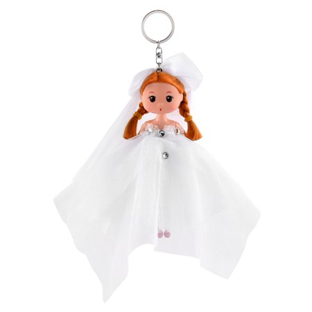Girl Trunk Wedding Dress Toy Ornament Pendant Strap Doll Keychain Key Ring White - Girls Trunk
