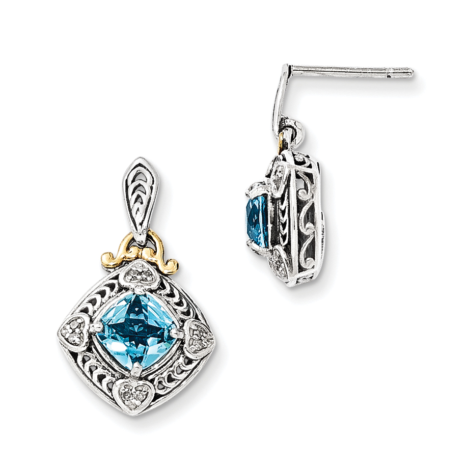 Roy Rose Jewelry Sterling Silver and 14K Gold Diamond and Blue Topaz Earrings by