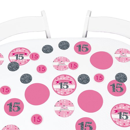 Quinceanera Pink - Sweet 15 - Birthday Party Table Confetti Set - 27 - Quinceaneras Decorations