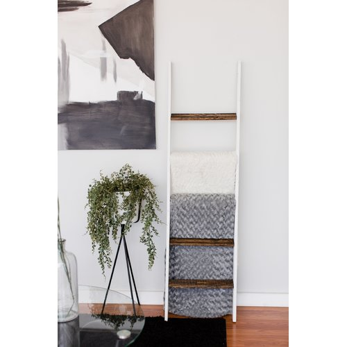 Gracie Oaks Two Tone Rustic 5 ft Blanket Ladder