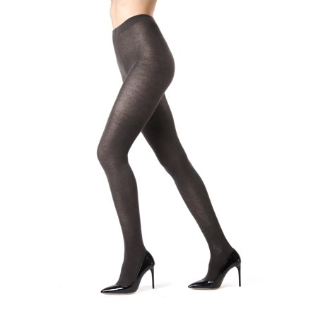 Memoi Cashmere Blend Sweater Tights | Women's Hosiery - Pantyhose Large/XLarge / Charcoal ML - Cashmere Tights