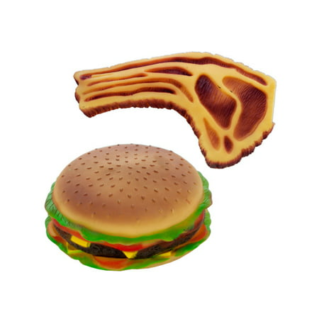 Fleece Squeaky Toy - Squeaky Hamburger and Steak Dog Toy