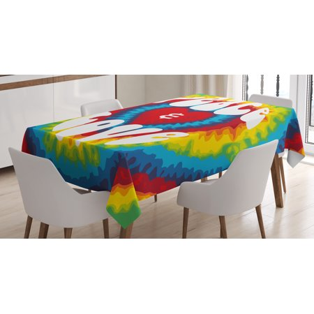 70s Party Decorations Tablecloth, Peace and Love Groovy Tie Dye Heart Shaped Abstract Hippie Rainbow, Rectangular Table Cover for Dining Room Kitchen, 60 X 84 Inches, Multicolor, by Ambesonne](70s Table Decorations)