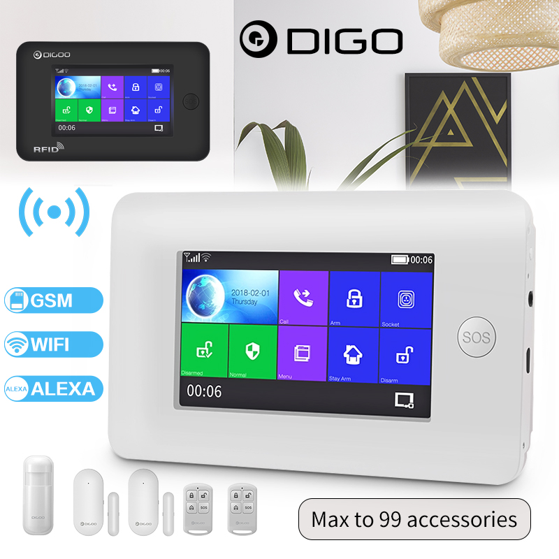 DIGOO Wireless GSM WIFI Remote Controls 2G GPRS Smart Home Office Security Alarm System Kit Compatible with Alexa Version Touch Color Screen